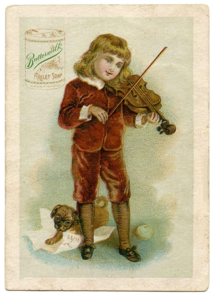 boy violin puppy vintage soap advertising image