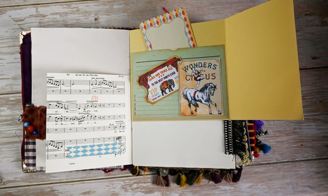 vintage circus images foldout journal page