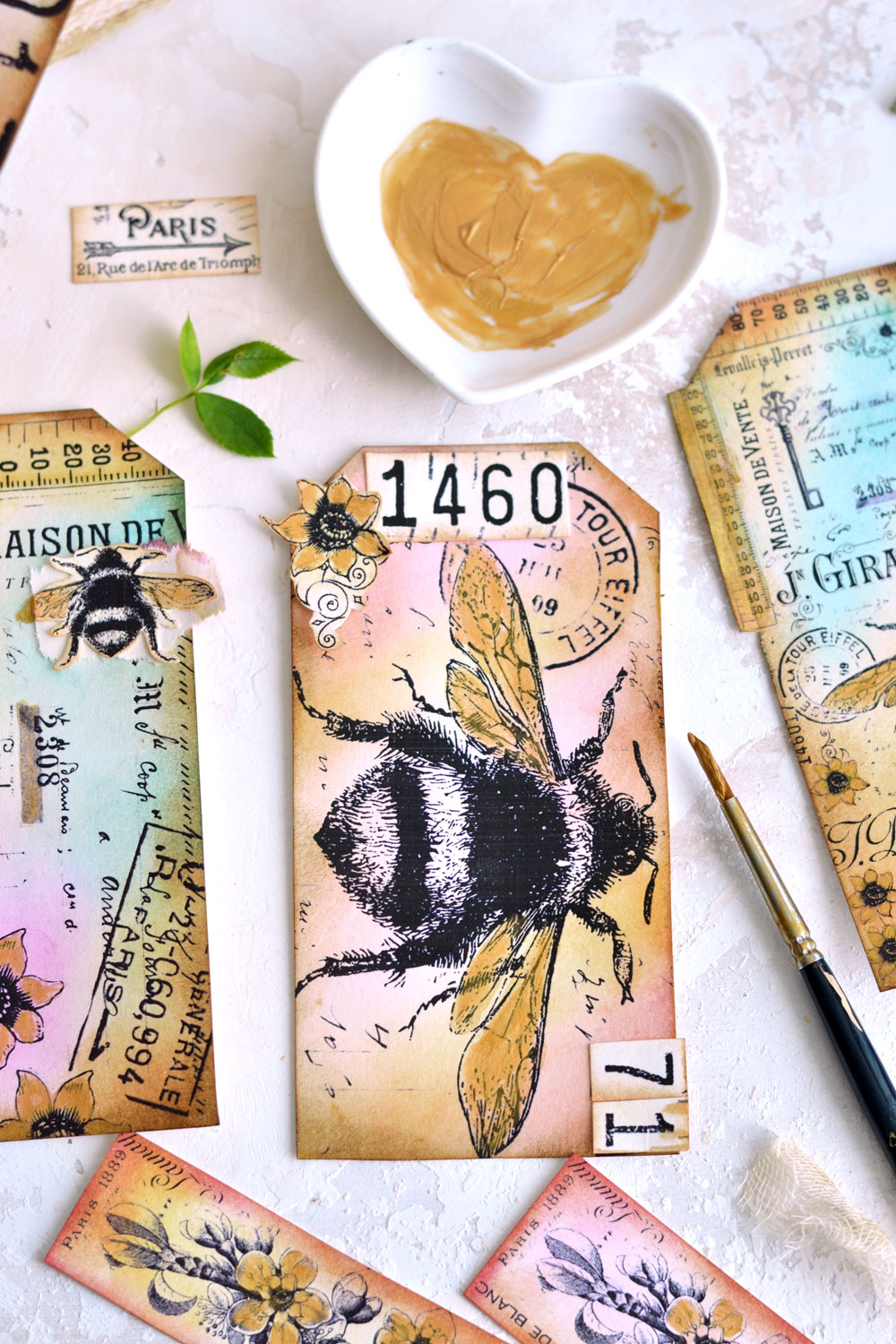 Bee themed Collage Tag