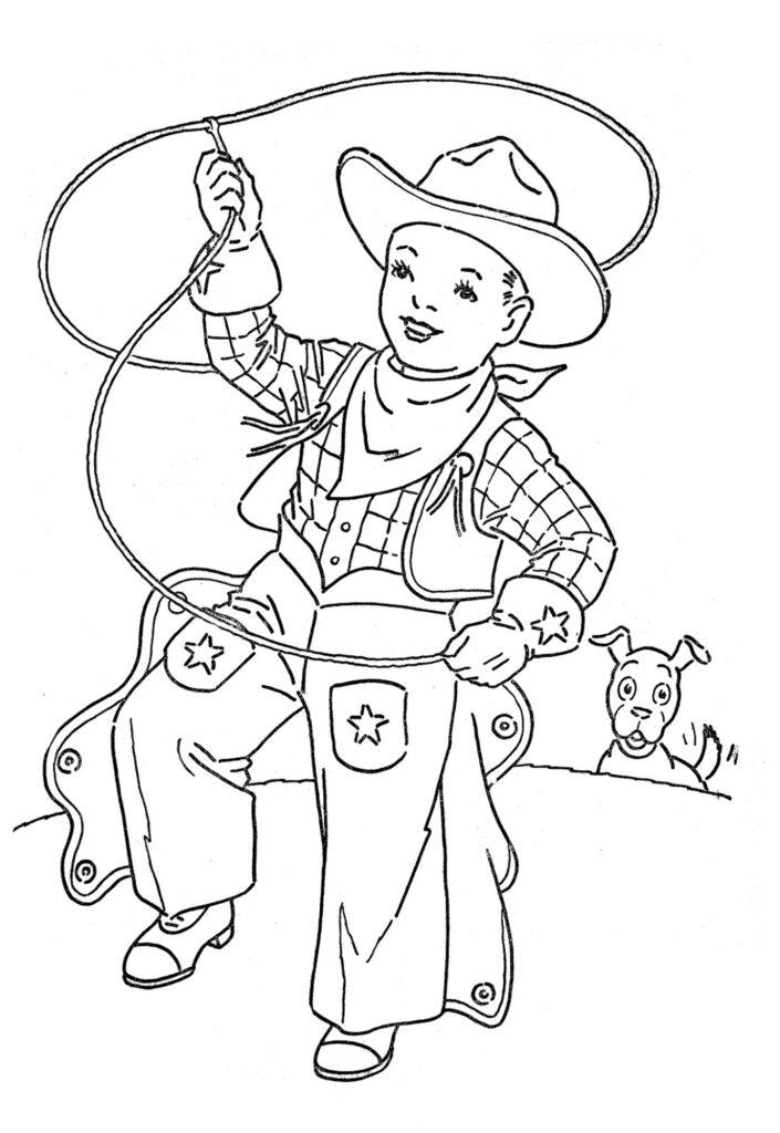 vintage cowboy kid chaps lasso hat clipart