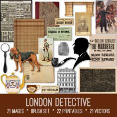 vintage London detective ephemera bundle
