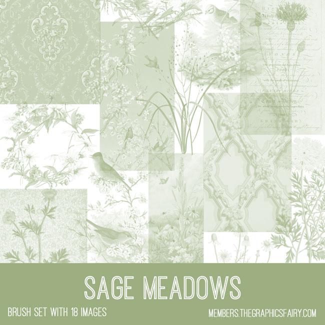 vintage sage meadows ephemera brush set