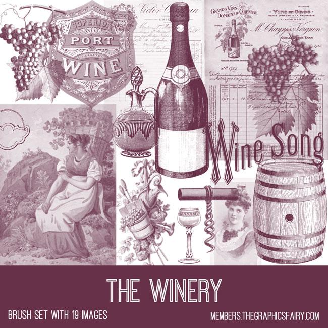 vintage the winery ephemera brush set