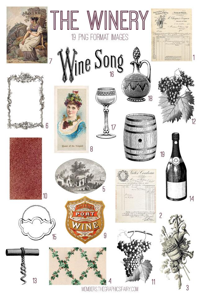 vintage the winery ephemera digital image bundle