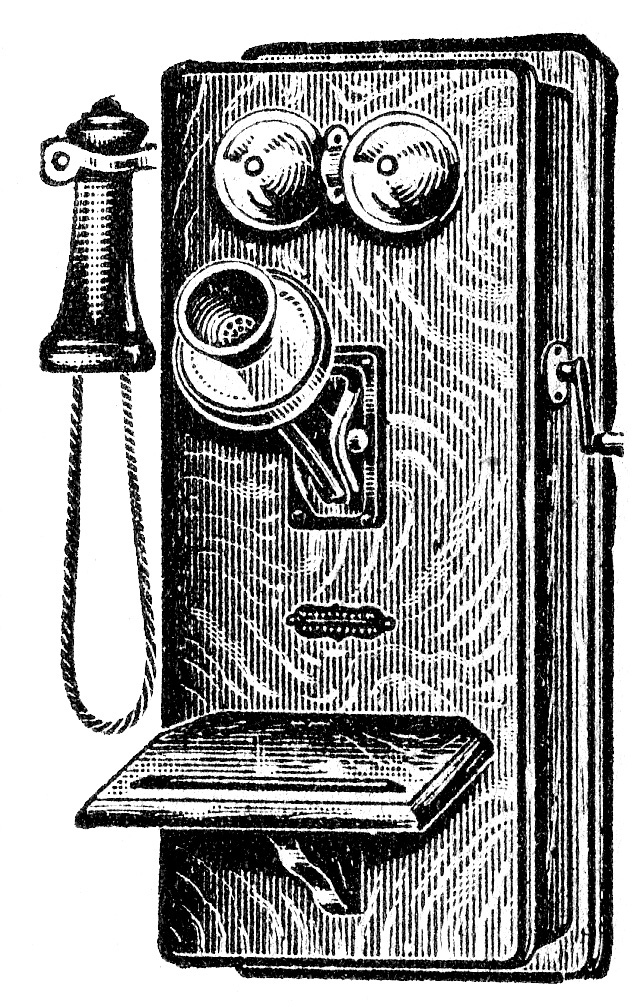 Antique Wooden Wall Telephone Clip Art