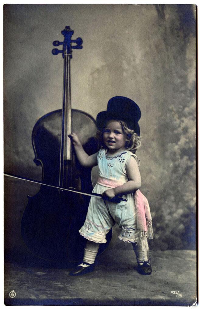 antique girl cello top hat clip art