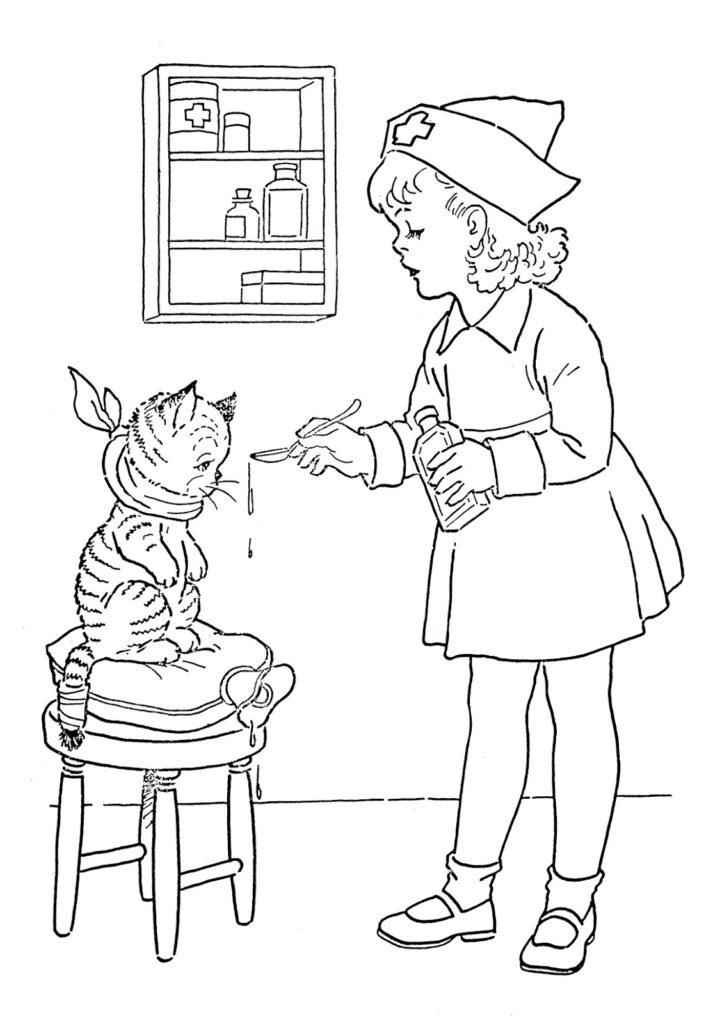 vintage child nurse cat patient coloring image