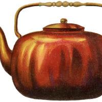 antique copper teapot image
