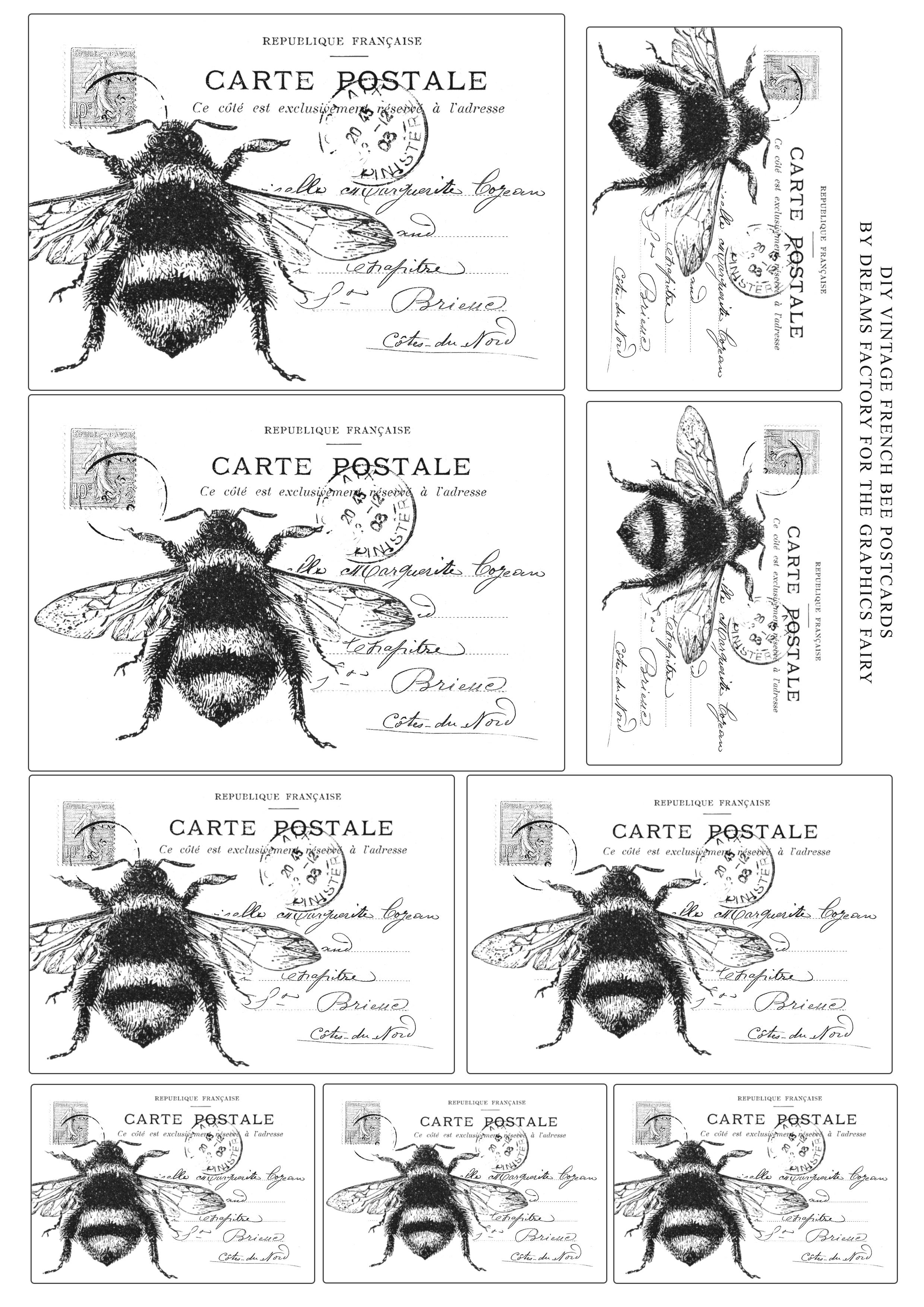 Bee postcard Printable