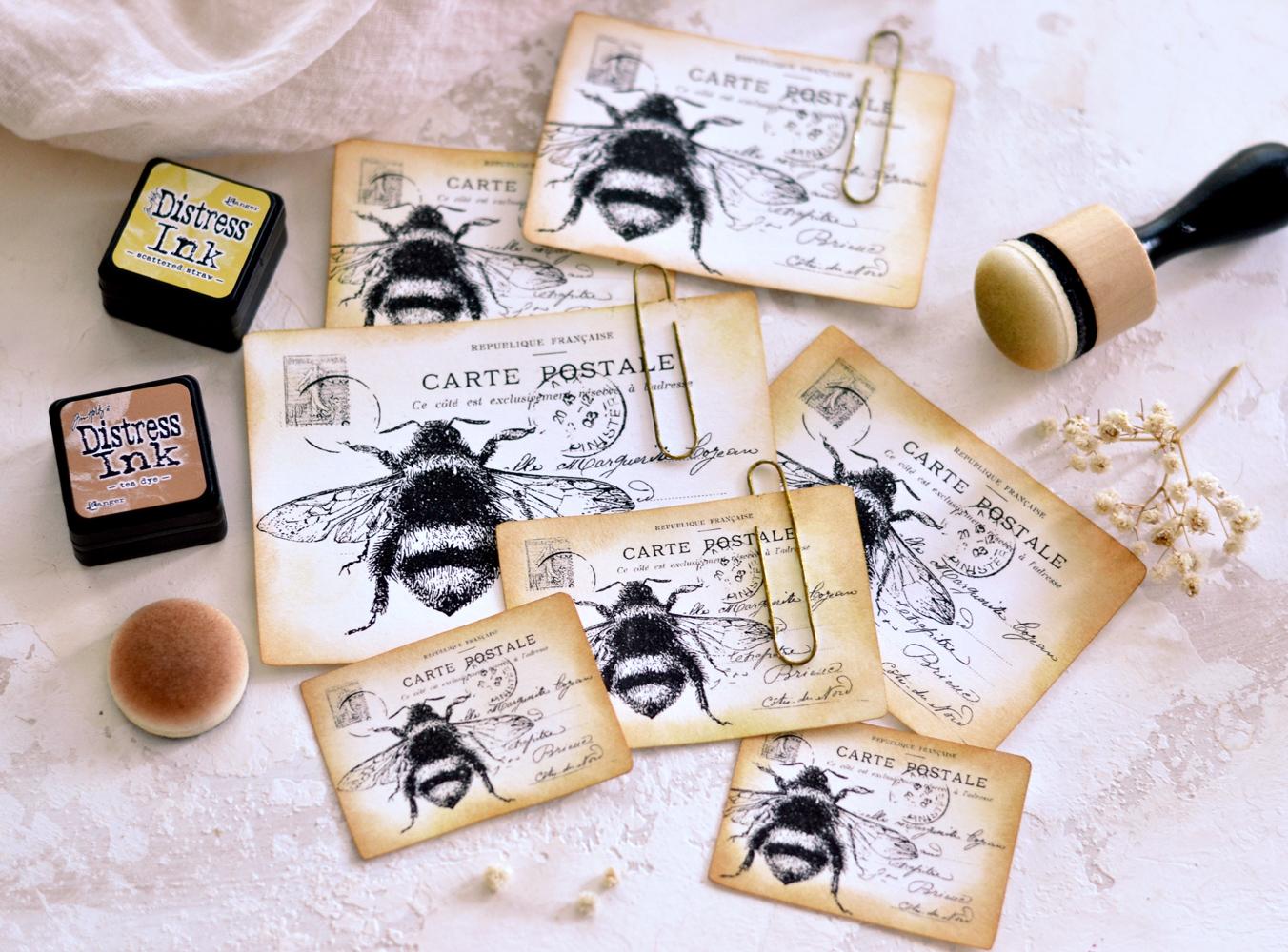 DIY Vintage French Bee Postcards
