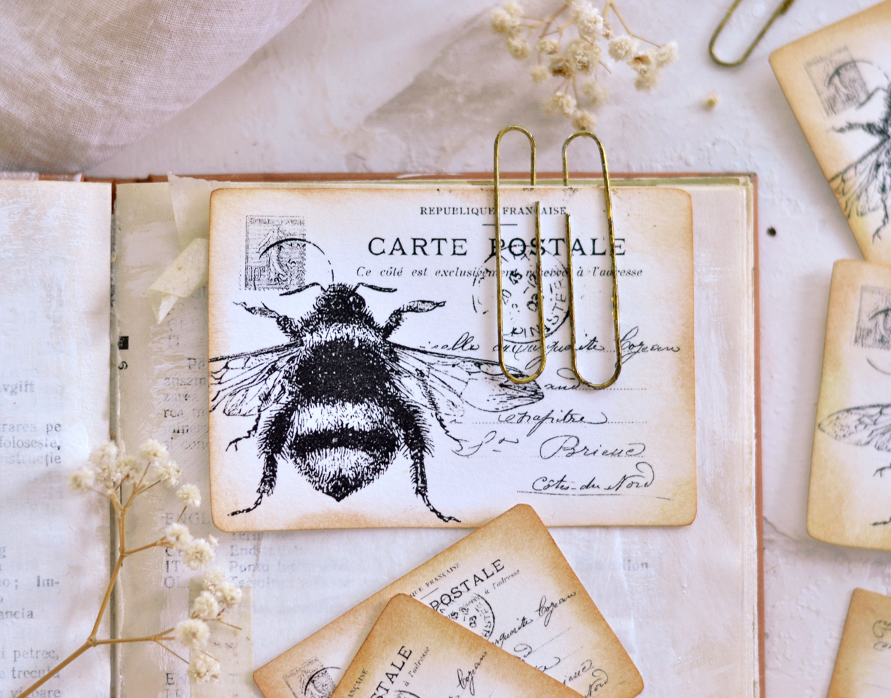 Finished French Bee Postcards