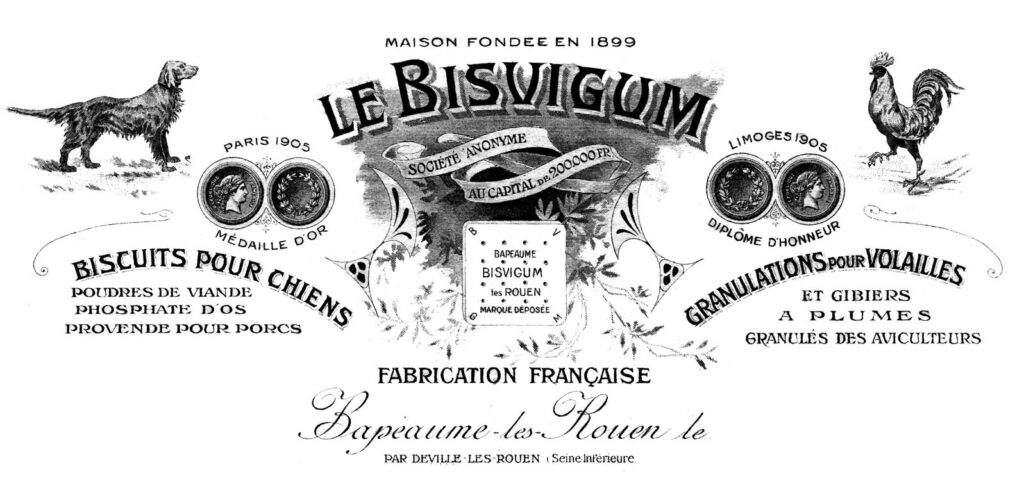 French dog biscuits vintage invoice header image