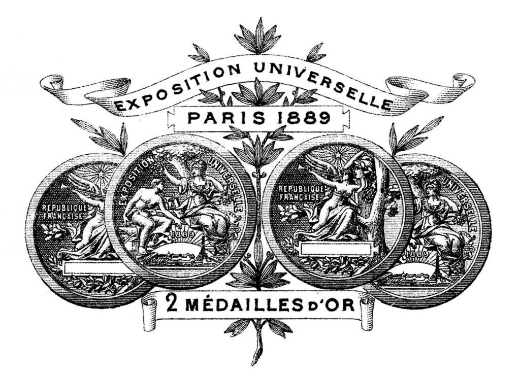 vintage French medal invoice illustration