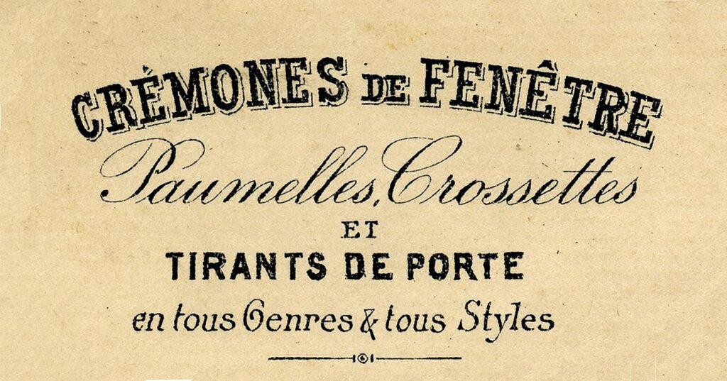 vintage French Cremones Invoice header image