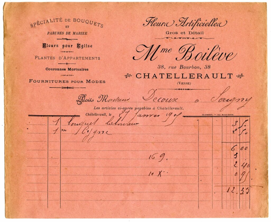 vintage pink French invoice image