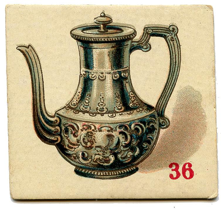 vintage game card silver teapot coffee pot illustration