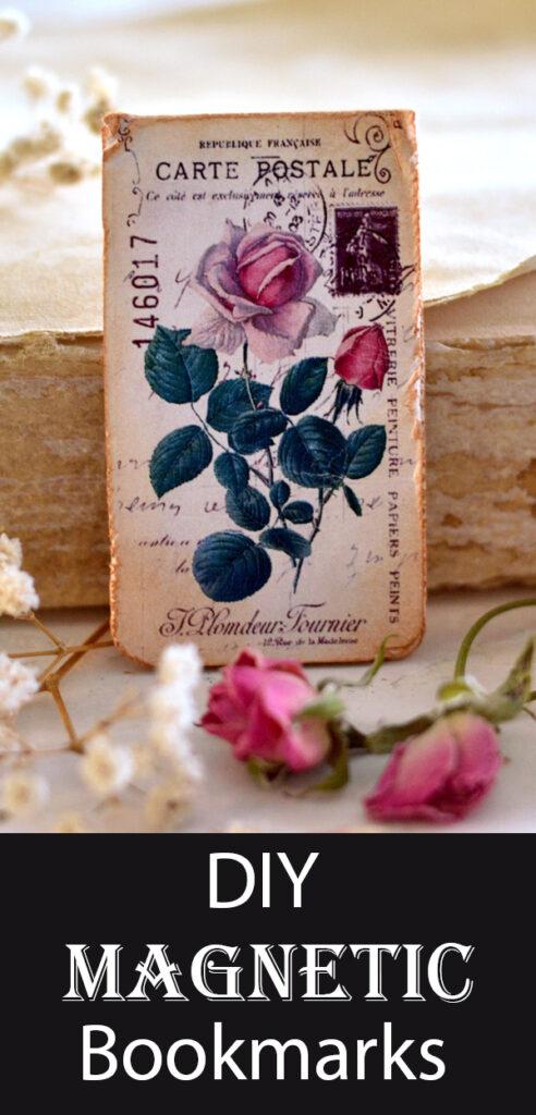 DIY Magnetic Bookmarks Antique Rose