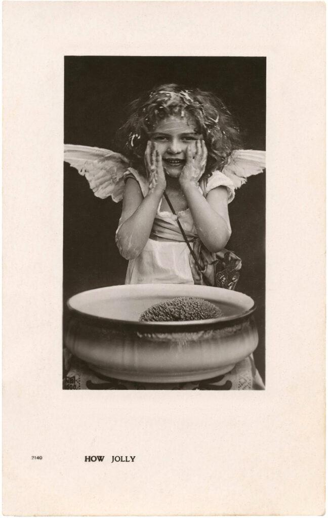 antique girl angel costume washing soap messy image