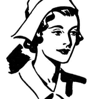 nurse lady black white clipart
