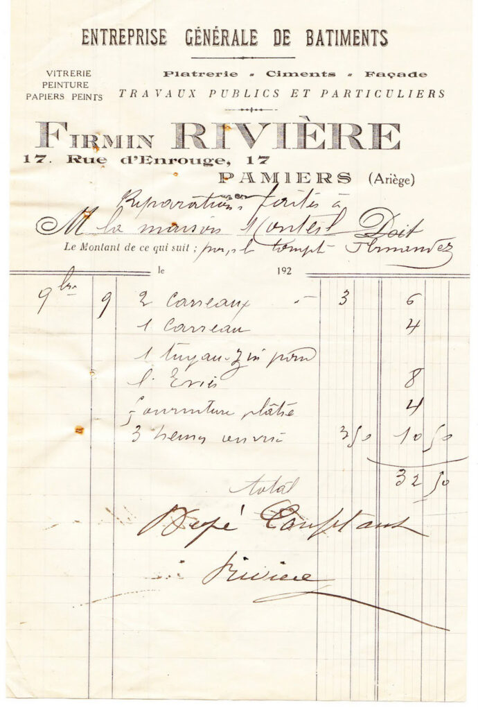 vintage French Riviere invoice illustration