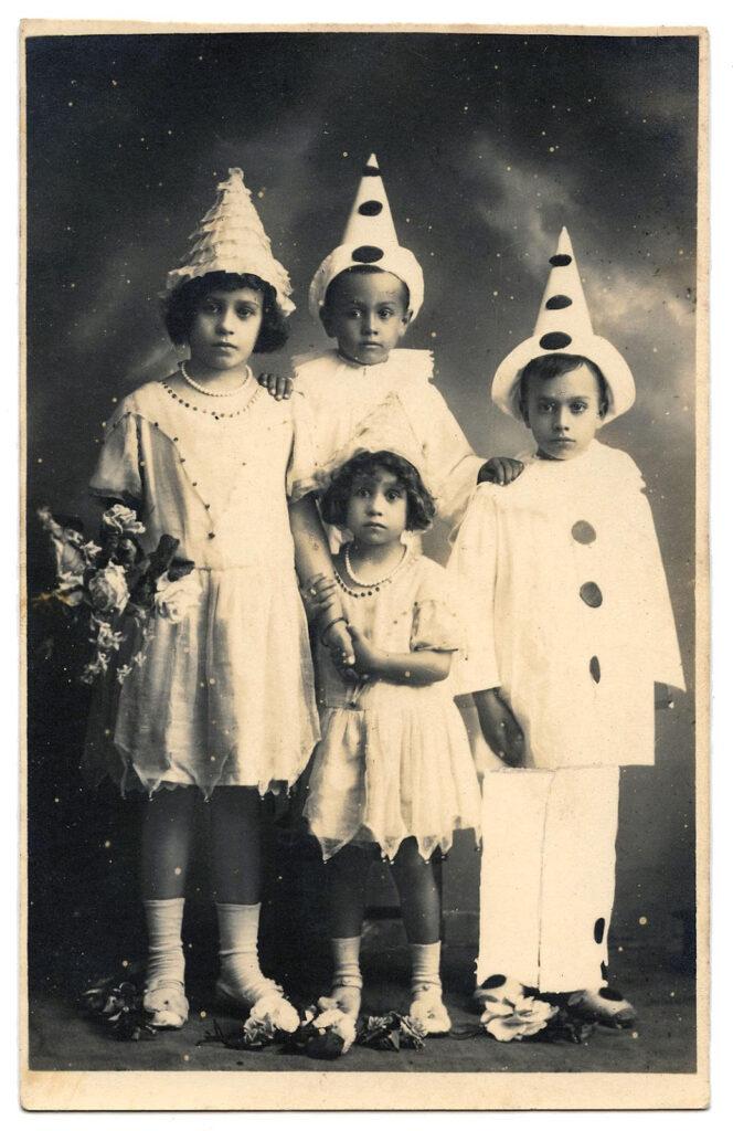 antique Pierrot clowns children photograph clipart