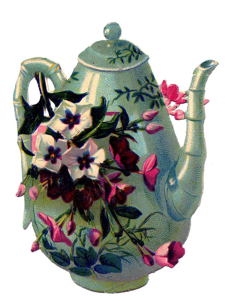 teapot flowers vintage illustration