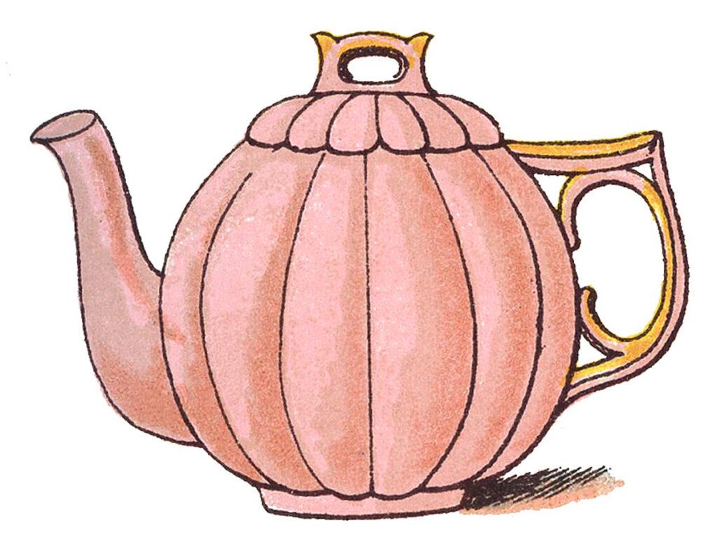 vintage pink teapot illustration