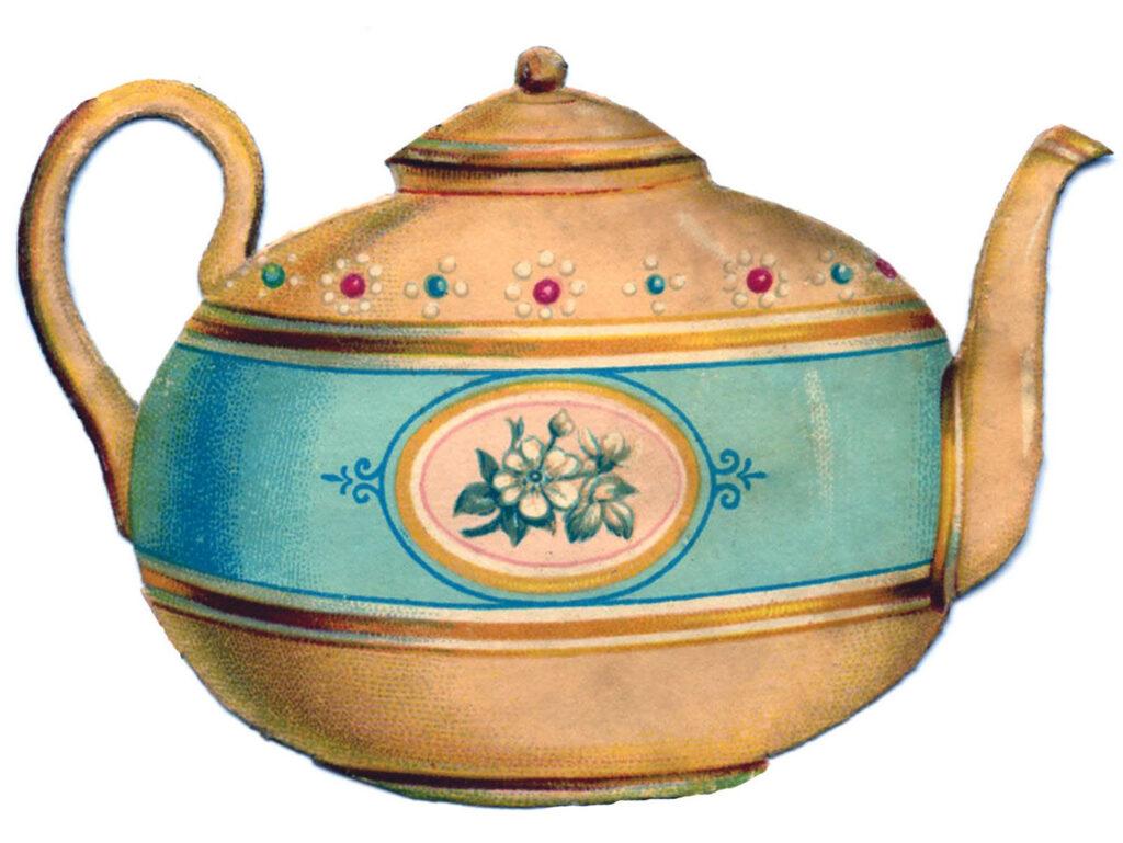 vintage teapot blue floral clipart