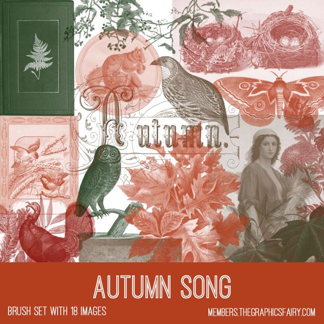 autumn song vintage ephemera brush set