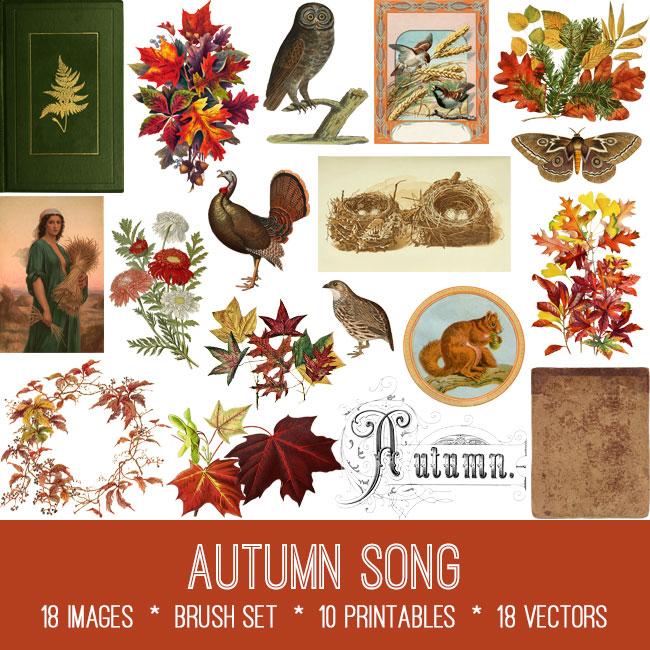 Autumn Song ephemera vintage images