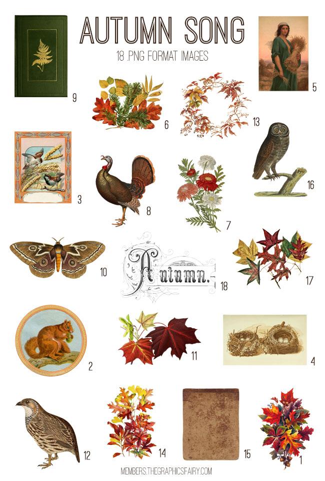 vintage autumn song ephemera digital image bundle