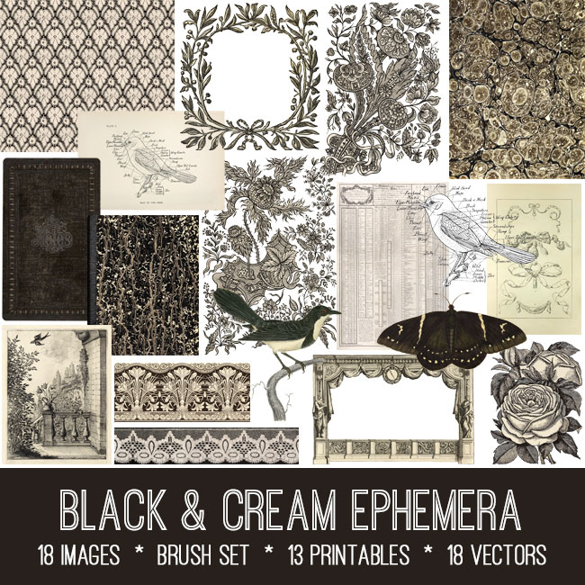 vintage black cream ephemera bundle