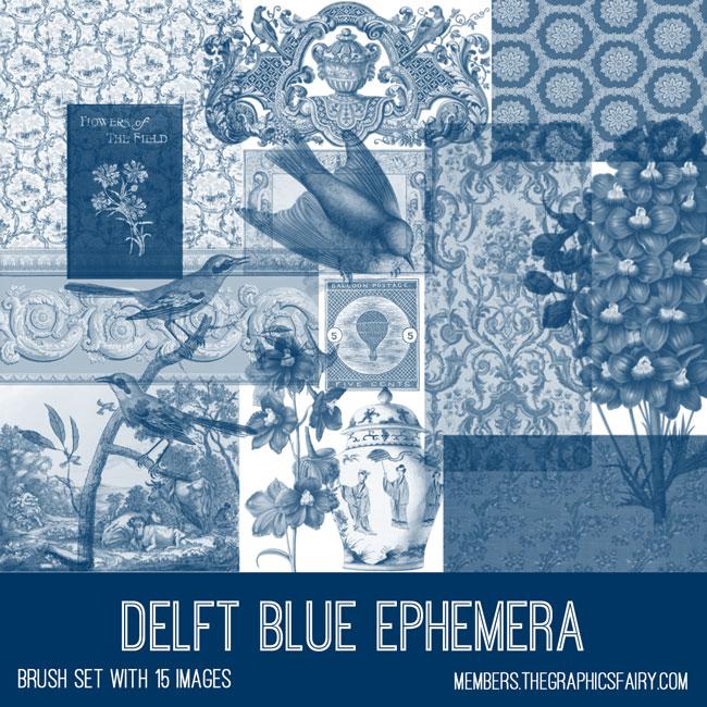 vintage Delft blue ephemera brush set