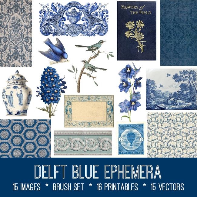 Delft blue ephemera vintage images