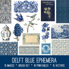 vintage Delft Blue Ephemera Bundle