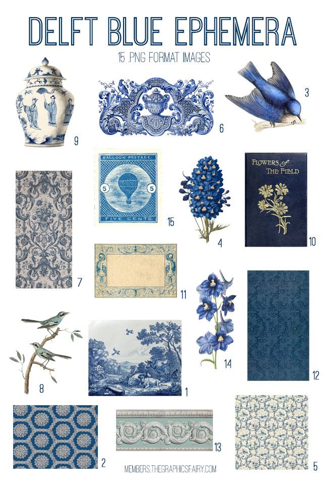 vintage Delft blue ephemera digital image bundle