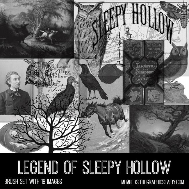 vintage Legend of Sleepy Hollow ephemera brush set