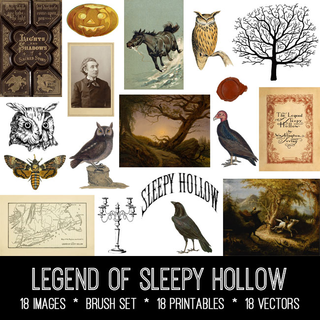 legend of Sleepy Hollow ephemera vintage images