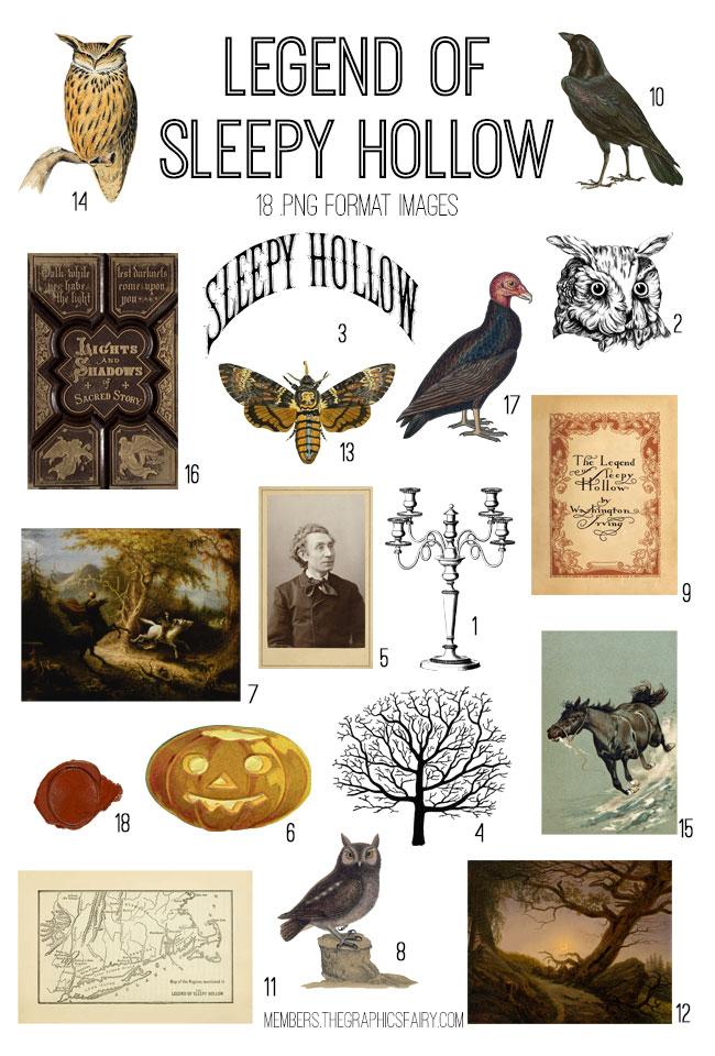 vintage Legend of Sleepy Hollow ephemera digital image bundle