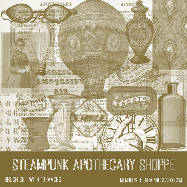 Steampunk Apothecary Brushes