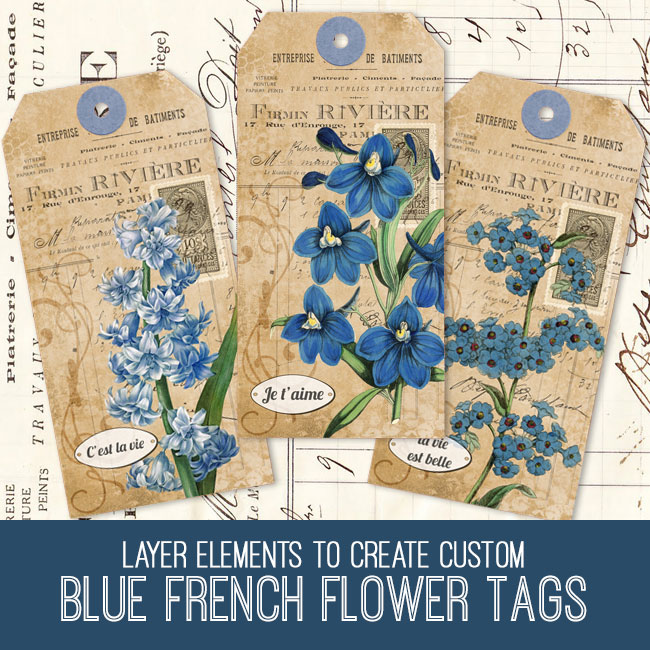 Blue French flower tags tutorial
