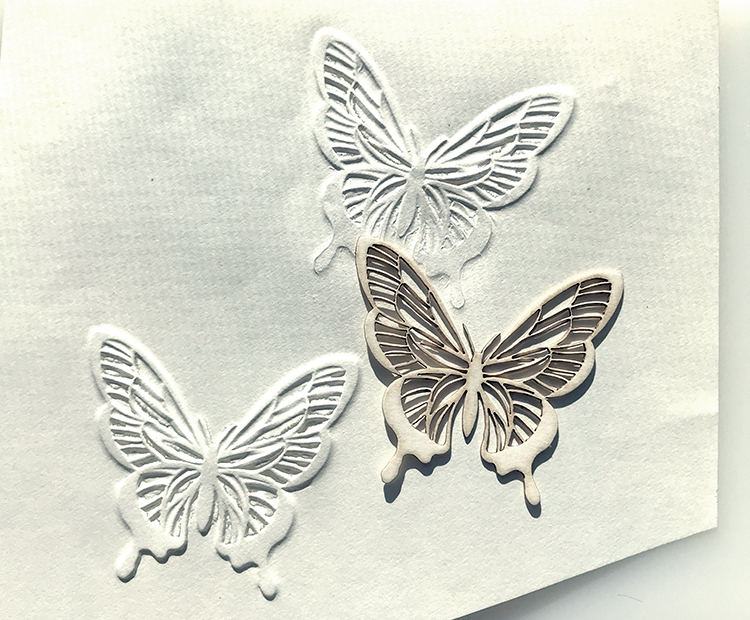 Chipboard Butterfly Embossing on Paper