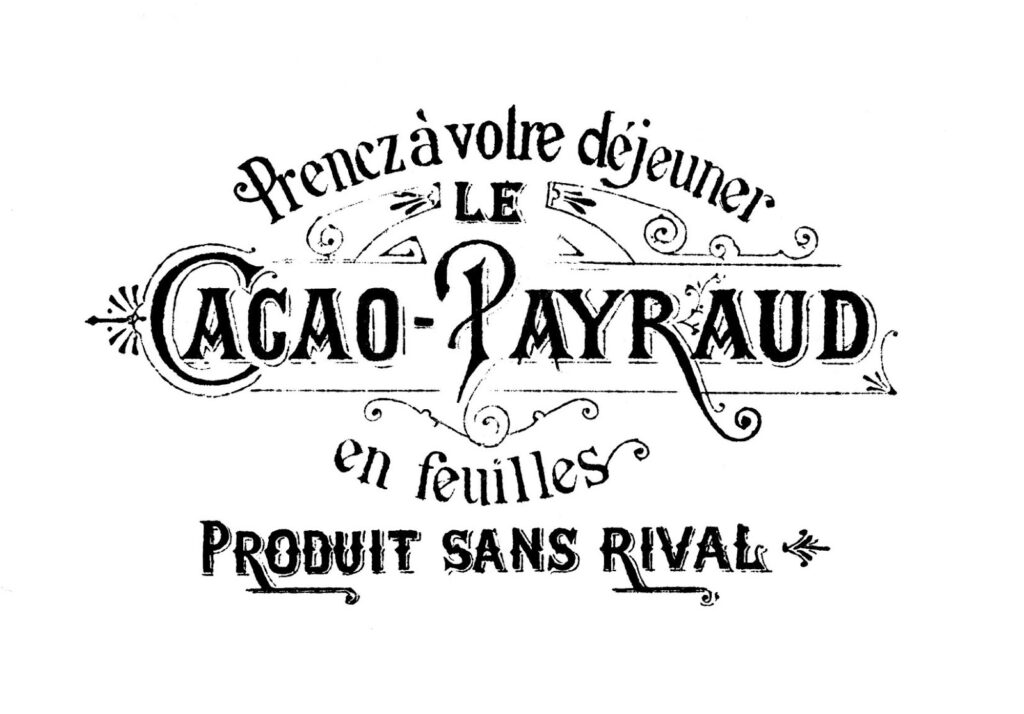 Cacao Payraud vintage French chocolate advertising illustration