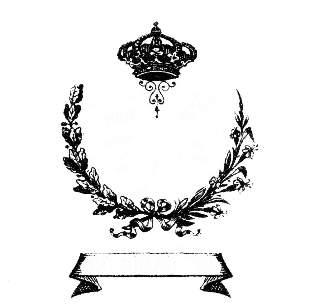 crown wreath banner vintage clipart