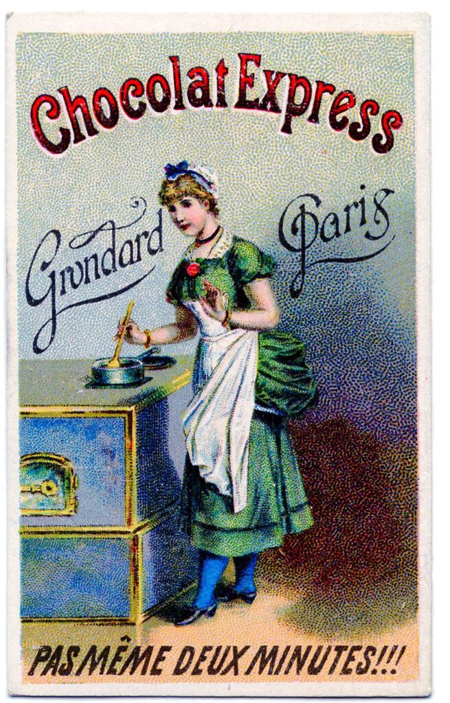 vintage chocolate ad lady stove apron illustration