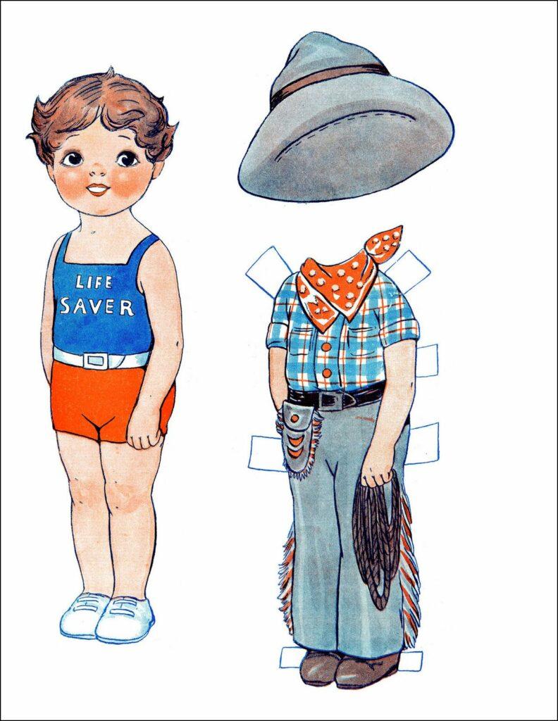 retro paper doll boy cowboy image