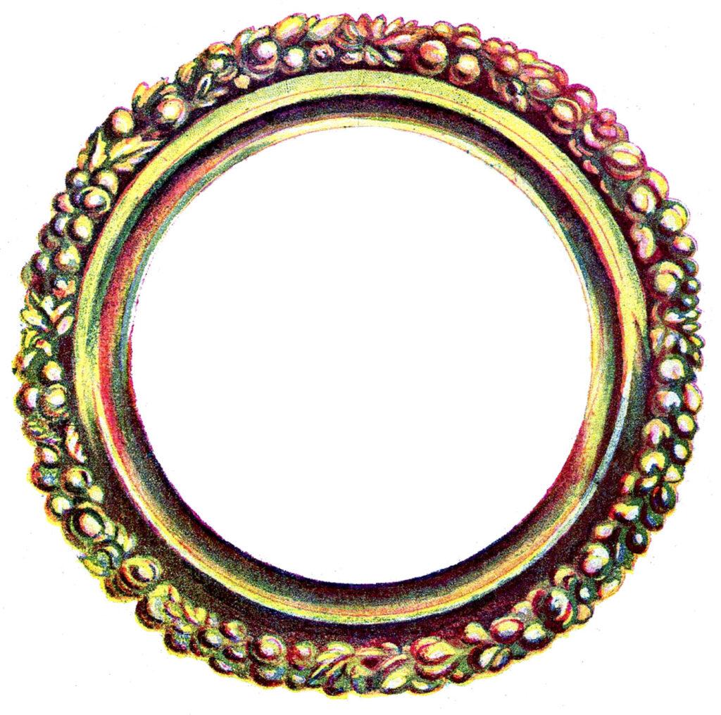 vintage gold round frame illustration