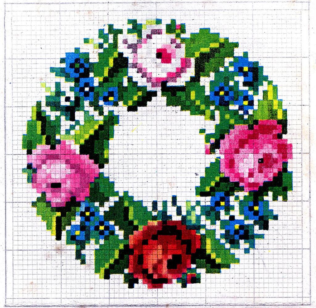 cross stitch floral wreath image