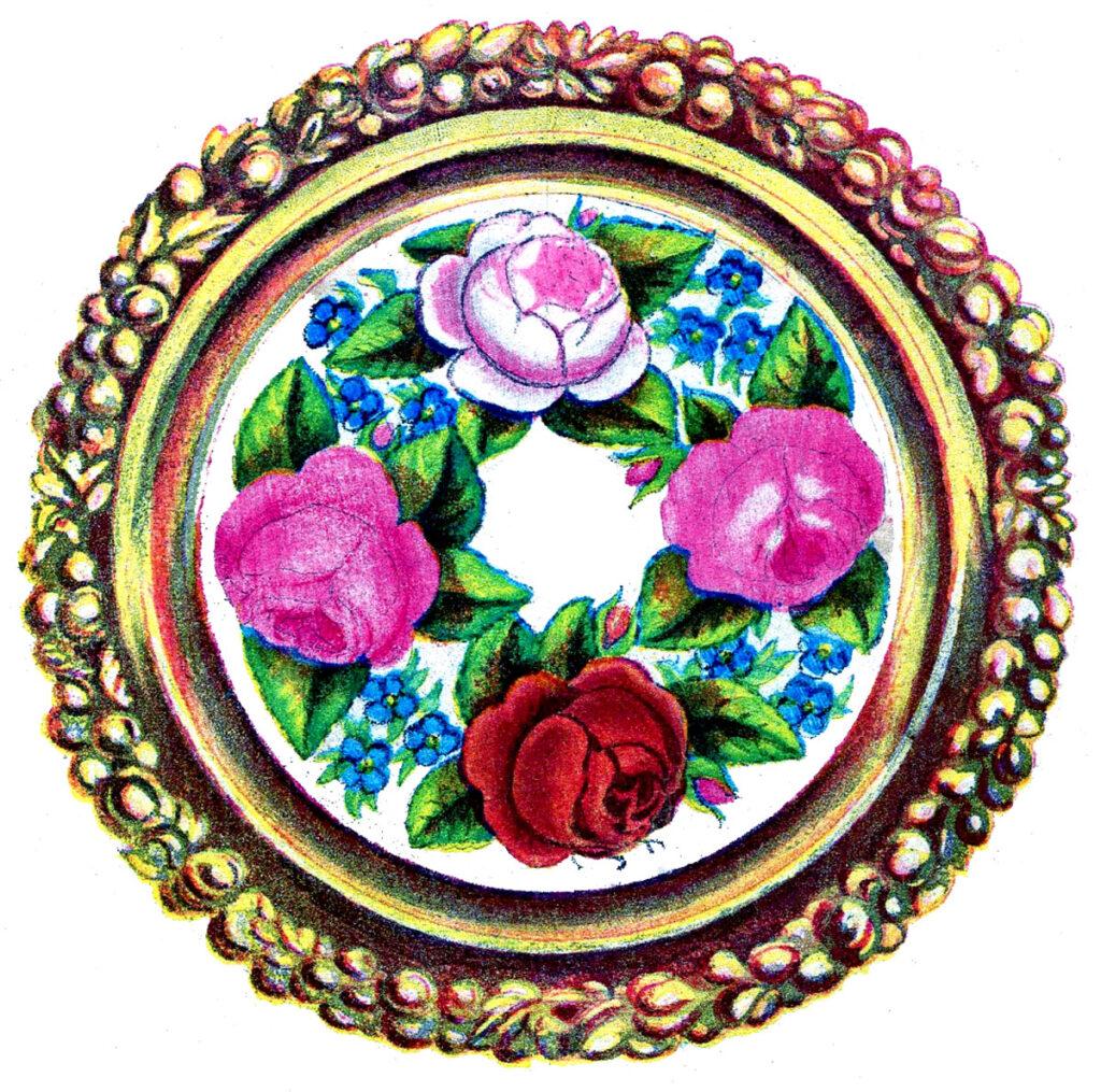 framed cross stitch flower wreath image