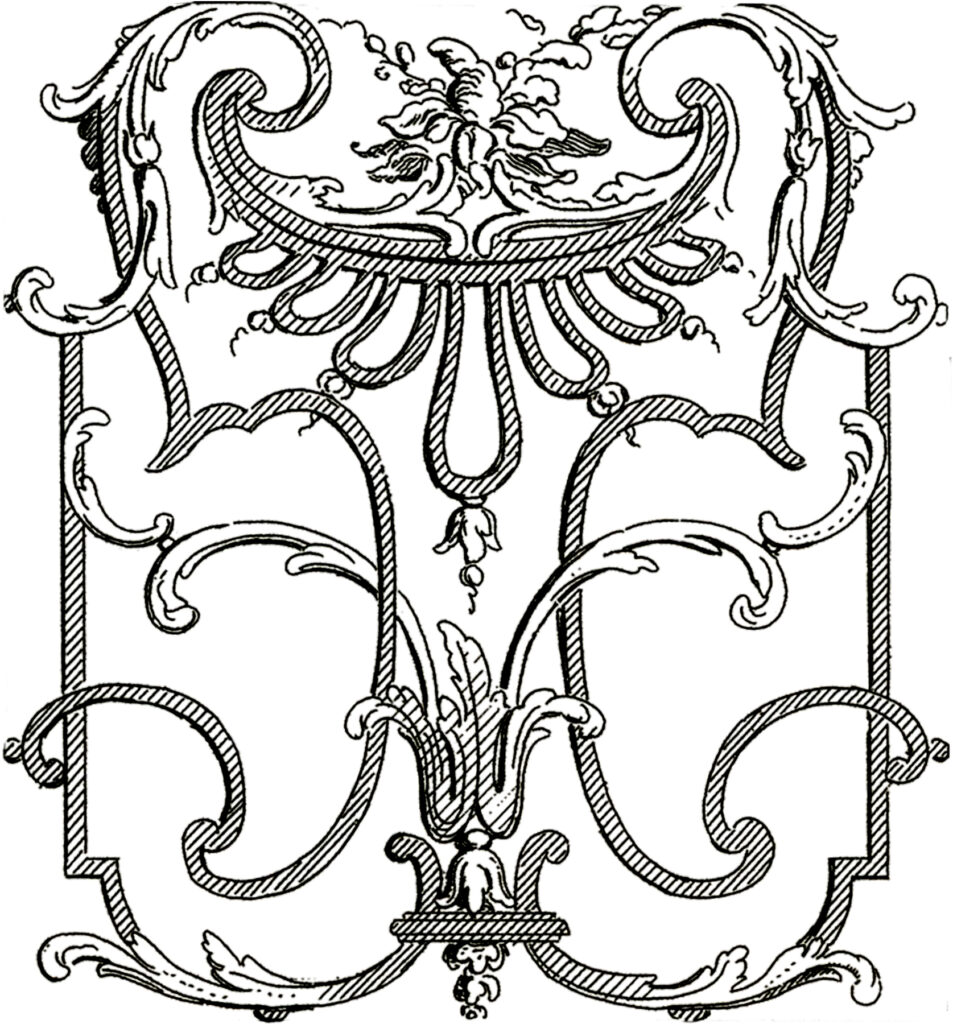 French architectural iron scrollwork clipart